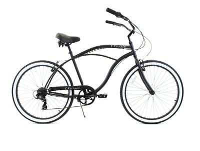 Blue White 26 Zf Bikes Classic Single Speed Mens Beach Cruiser Bike