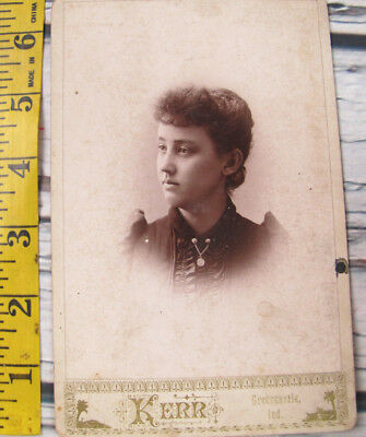 Vintage Antique 1800s Photo Cabinet Card Teen Girl Kerr Greencastle Indiana
