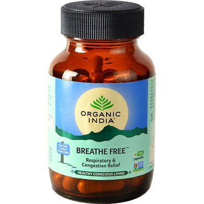 Pack of 3 ORGANIC INDIA Breathe Free - Asthma and Respiratory Relief 180 Capsule