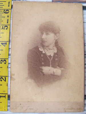 Vintage Antique 1800s Cabinet Card Creepy Young Teen Girl Greencastle Indiana