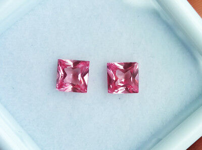 Pair of Princess 4mm. TOP COLOR!!  PADPARADSCHA ORANGE PINK SAPPHIRE EXCELLENT!!