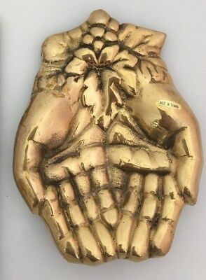 Brass Hands Cupped Palms Tray Solid Coin Trinket Jewelry Dish Card Holder Alms