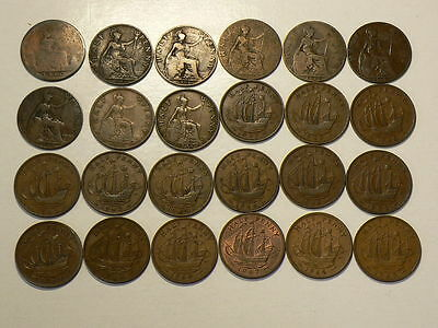1860 to 1965 Great Britain Half Penny  Lot of 24 #G7625