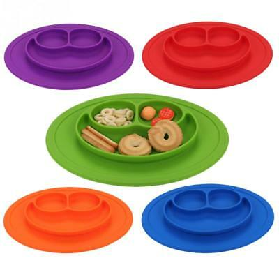Baby Feeding Silicone Dining Plate Smile Face Tableware Kitchen Dishes Children