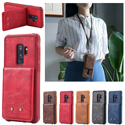 Back Flip Leather Stand Card Neck Strap Case Cover For Galaxy Note 9 S8 S9 Plus
