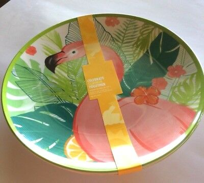 "Pink Flamingo Celebrate Summer Together Melamine 11"" Round Dishes Set of 4"