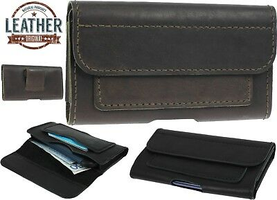 Classic Waist Pouch Handsewn Of Real Leather Case Cover 2 Card Pockets For Phone