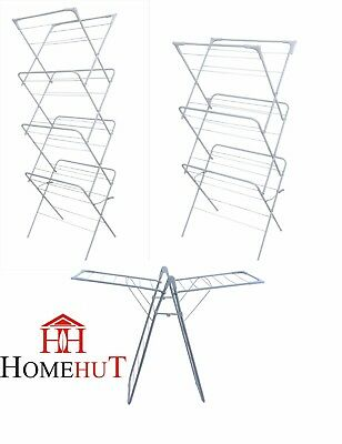 Clothes Airer Laundry Dryer Concertina Winged Tower Indoor Outdoor Patio Horse