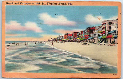Beach and Cottages at 20th St. Virginia Beach VA Condos Bathers Linen Postcard