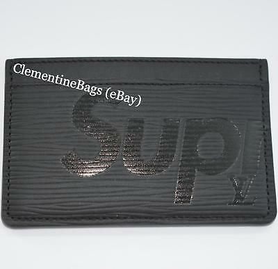finest selection 782ab 89f95 LOUIS VUITTON X Supreme Cardholder Card holder Wallet Black Epi leather NEW
