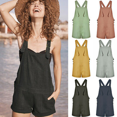 AU Women's Casual Jumpsuit Dungaree Trousers Ladies Overall Pants Short Playsuit
