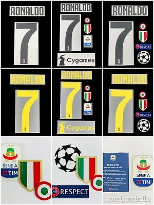 Official Juventus 2018-19 name number SerieA UCL Ronaldo respect patch Cygames
