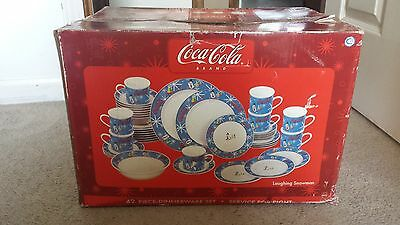 Coke Dinnerware Complete Coca Cola Laughing Snowman Dinner Ware Set Of 42 In Box