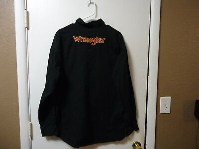 Vintage Wrangler Western Black Long Sleeve Embroidered Red Spellout Size Xl