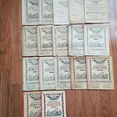 Lot of J Grubers  Antique and Vintage Almanacks Almanak Collectibles