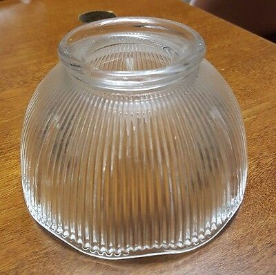 "VINTAGE clear KEROSENE OIL? ELECT? LAMP SHADE 5"" ribbed glass Depression RARE"