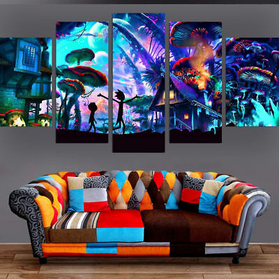 Framed Home Decor Rick And Morty Cartoon Kids Canvas Prints Painting Wall Art 5P