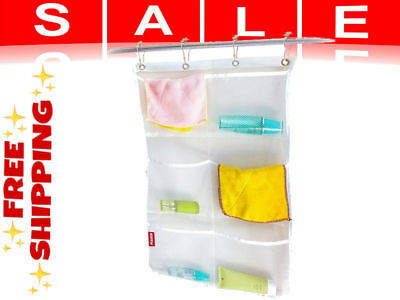 2 Pack Hanging Mesh Bath Shower Caddy Organizer With 6 Clear Storage Pockets New