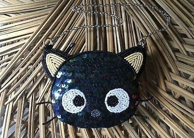 Vintage Sanrio Chococat Sequin Beaded Coin Purse with Strap NEW