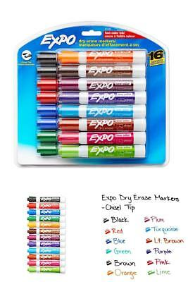 Erase Dry Markers Tip Expo Marker Colors Low Odor Chisel Tip 16 Pack Assorted