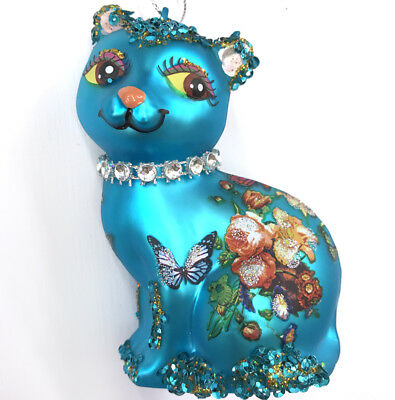 BLUE FLORAL CAT   Glass Christmas Ornament Pet Lover Gift Butterfly Roses Animal