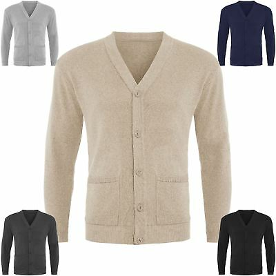 Mens Plain Button Up Cardigan Knitwear Classic Granddad Front Pocket Knitted Top