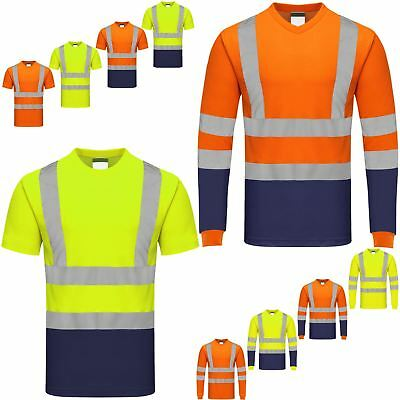 High Visibility T-Shirt Hi Vis Viz Reflective Tape Worker Safety Security Tops