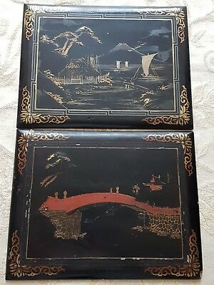 A Pair Of Antique Japanese Black Lacquer Panels c1900