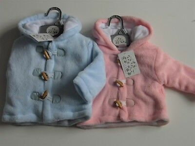 Baby Boy And Girl Chunky Fleece Effect Hooded Coat With Zip & Toggle Fastening