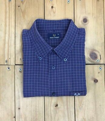 Men's Purple & White Check Fred Perry Shirt XL Extra Large Vintage Casuals A/B