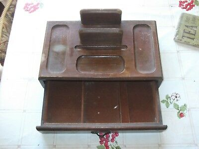vintage wooden writing box with drawer