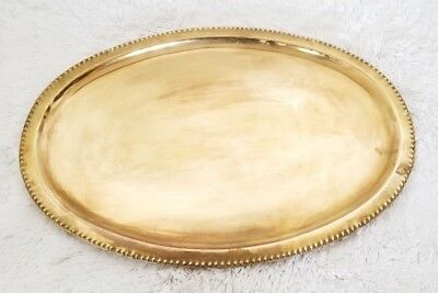 Vintage Oval Brass Serving Tray Beaded Border 16 1/2 Inches By 11 1/2 Inches