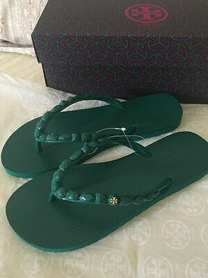 71c6646fc994ed TORY BURCH JEWELED FLIP-FLOP Green SIZE 8 New with Box -  44.99 ...