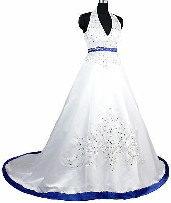 2018 Halter Satin Embroidery Wedding Dress Bridal Gown Custom Color Size 4-28++