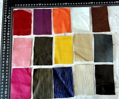 Brand New 15 piece GENUINE LEATHER SCRAPS, OFF CUTS for CRAFTS & HOBBIES-Lot A12