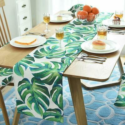 Botanical Monstera Leaf Green Plant Table Runner Placemats Cushion Cover
