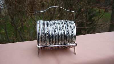 Vintage Webster Sterling Silver Cut Glass Set Of 11 Coasters W/ Caddy