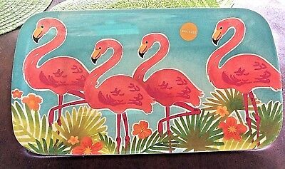 "Pink Flamingo Melamine Appetizer Serving Tray 7 1/2"" X 13 1/2""  New"
