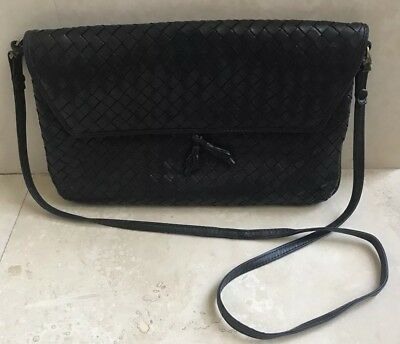 Vintage Bottega Veneta classic leather handbag shoulder bag Navy Blue  REDUCED! 4960a8b9cc