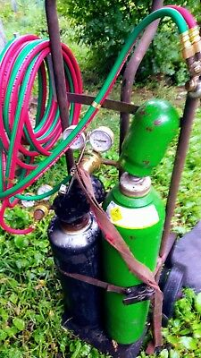 Oxygen Acetylene Cutting Torch Medium Set Tanks Cart, Victor cutting torch *