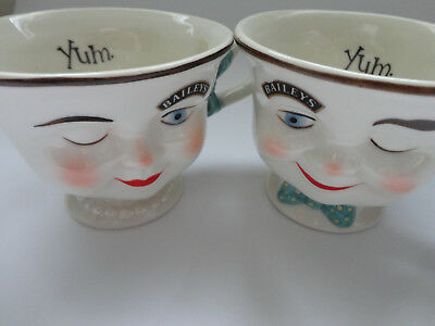 Baileys Winking Man & Lady Yum Mugs Cups Ceramic 1996 Limited Edition Free Ship