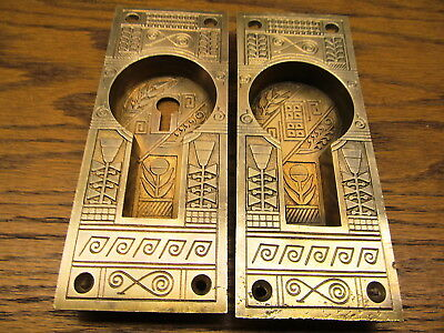 "Pair "" Nasuha "" Brass ? Bronze ? Pocket Door Escutcheons ...door Plates..ornate"