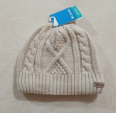 2482fc92d52 Columbia Women s Cabled Cutie Beanie Cozy Fleece Winter Hat Chalk One Size  NWT