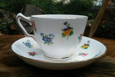 Crown Staffordshire Fine Bone China Floral Tea Cup and Saucer - England