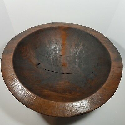 Rare Antique Primitive Large Egyptian Style Flat Bottom Hand Carved Dough Bowl