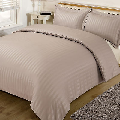 Luxury T-300 Hotel Quality Egyptian Cotton Satin Stripe Duvet Cover Set Beige