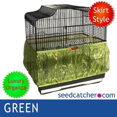 ORGANZA GREEN Bird Cage Seed Catcher Guard Tidy Skirt Style