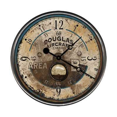Vintage Douglas Aircraft Round Rustic Wall Clock Made in USA Antique Ad Design