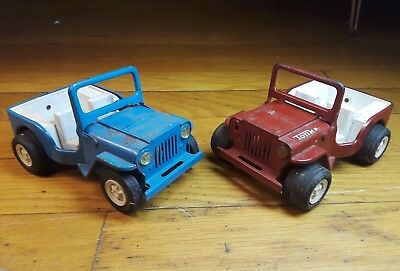 Vintage Toy Jeep Jeepster Tonka Trucks Cars Blue Red Lot 18 50