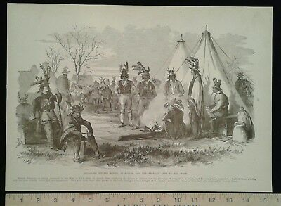 1896 Civil War Print - Federal Indian Scouts - Missouri Military Scenes
